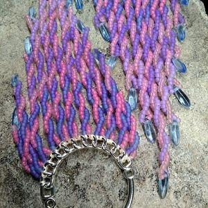 Handmade Twisted Beaded Hoop Long Earrings
